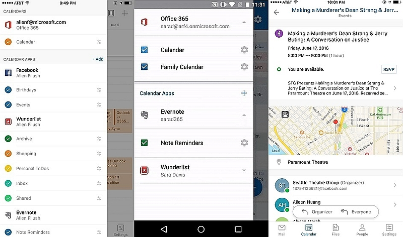 Outlook for Android, iOS Gets Evernote, Facebook, Wunderlist Calendar Integration
