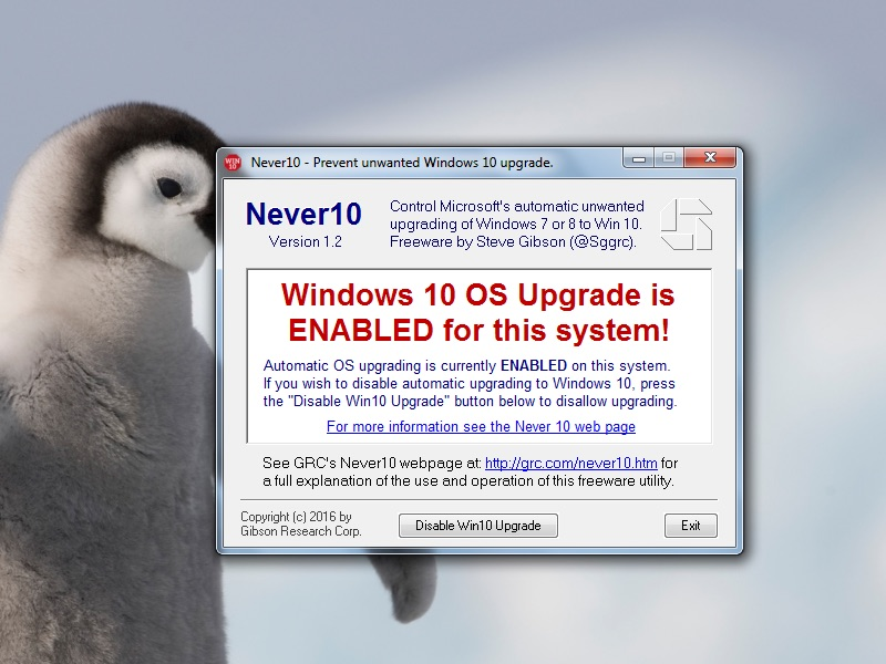 Never 10 Prevents Windows 7, 8.1 PCs From Upgrading to Windows 10