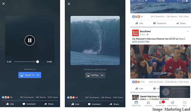Facebook Testing Video Streaming From App to TV via AirPlay, Chromecast