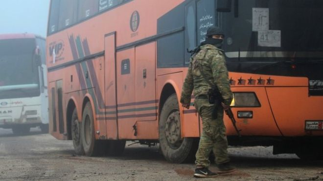 Syria war: Evacuation begins in besieged towns